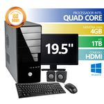 Computador Premium Business Intel Quad Core 4gb HD 1Tb Hdmi Windows 10 + Monitor 19,5 + KIT