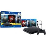 Playstation 4 Slim 1tb Sony 1 Controle - Com 3 Jogos Bundle God Of War Gran Turismo Sport E Uncharted 4