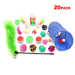 Toy Cat Set Toy Cat rato Cat Toy Bola Variety Kitty Toy Set Cat Way Tunnel 20 pcs Multicolor